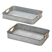 2-Piece Galvanized Metal Tray Set Available in Three Designs - $59.95+