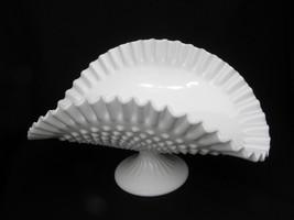 Large Vintage Fenton Milk Glass Hobnail Crimped Piecrust Edge Banana Bowl - $22.99