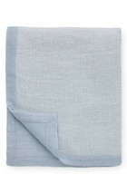 Sferra Perlo Ocean Blue Throw Blanket Linen Blend Two Tone Reversible Beige NEW - $138.60