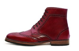 Handmade Men's Red Leather Wing Tip Brogues Style High Ankle Lace Up Boots image 2