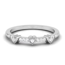Solid 14k White Gold Engagement Ring Heart Jewelry 0.07Ct Diamond Ring Free Ship - $429.99