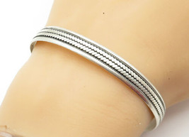 925 Sterling Silver - Vintage Antique Braided Pattern Bangle Bracelet - ... - $51.48