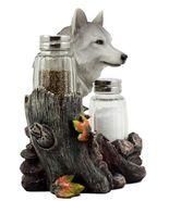 Full Moon Lone Alpha Gray Wolf Glass Salt & Pepper Shakers Holder #GFT02 - $46.17