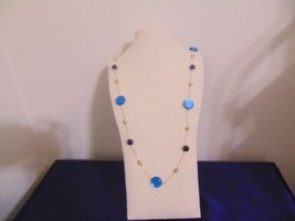 """Macys 38.5"""" Gold Tone bead and Bauble Long Necklace A462 - $10.55"""