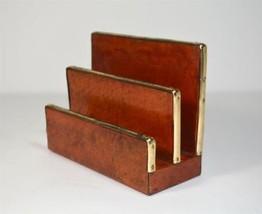 Vintage Lacquered Leather Letter Holder Sorter Desk Accessory Organizer - $17.30