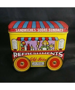 VINTAGE J.S.N.Y. REFRESHMENT WAGON TIN CONTAINER WHEELS TURN - $27.04