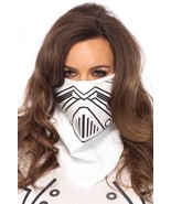 White Evil Robot Face Mask Bandana Halloween Costume - $5.89