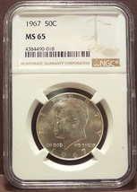 1967 Kennedy Half Dollar NGC MS65 #G014 - $47.99