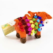 Handknit Alpaca Wool Whimsical Hanging Red Fox Ornament Handmade in Peru image 4