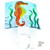 "Jaco Handcrafted Fused Glass Ocean Seahorse 4"" Square Night Light image 2"