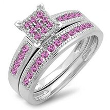 925 Sterling Silver Round Cut Pink Sapphire Stone Bridal Engagement Ring Set - $85.99