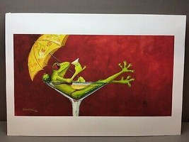 Signed Print of Frog in Bikini in Martini Glass Drinking Martini with Um... - $71.94