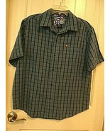 Tony Hawk Button Down Short Sleeve Shirt Blue Plaid Size M Modal & Polye... - $17.81