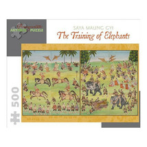 Training of Elephants: 500 Piece Puzzle by Pomegrante - $17.81
