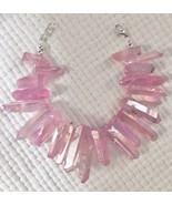 Cotton Candy pink druzy quartz Bracelet - $37.61