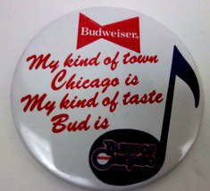 Vintage Budweiser Chicago Blues Pinback Pin Button My Kind of Town - $5.04