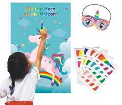 ADJOY Pin the Horn on the Unicorn Game - Unicorn Themed Birthday Party G... - ₨743.31 INR