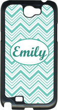 Monogrammed Teal Blue Chevron Lines on Samsung Galaxy Note II 2 Hard Case Cover - $15.95
