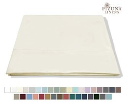 Pizuna 400 Thread Count 100% Cotton Queen Flat Sheets Ivory 1 piece - $25.47