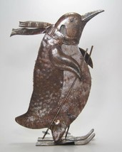 Metal & Wood Penguin Figurine with Skis & Poles Winter Holiday Tabletop ... - $31.63