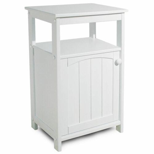 NEW White Floor Cabinet Bath Shelf Kitchen Towel Storage Door Bathroom Stand NIB