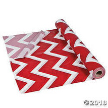 Red Chevron Plastic Tablecloth Roll - $24.99