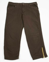 TAKARA GIRLS SIZE XL 16 BROWN CROPPED CAPRI PANTS ZIPPER ACCENTS - $13.96