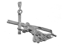 NICE Christ Carrying Cross Jesus crucifixion Road to Calvary Sterling Silver cha - $17.04