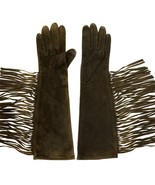 Coach 82819 CHO Suede & Silk Fringe Size 6.5 Women's Chocolate Gloves - $99.99