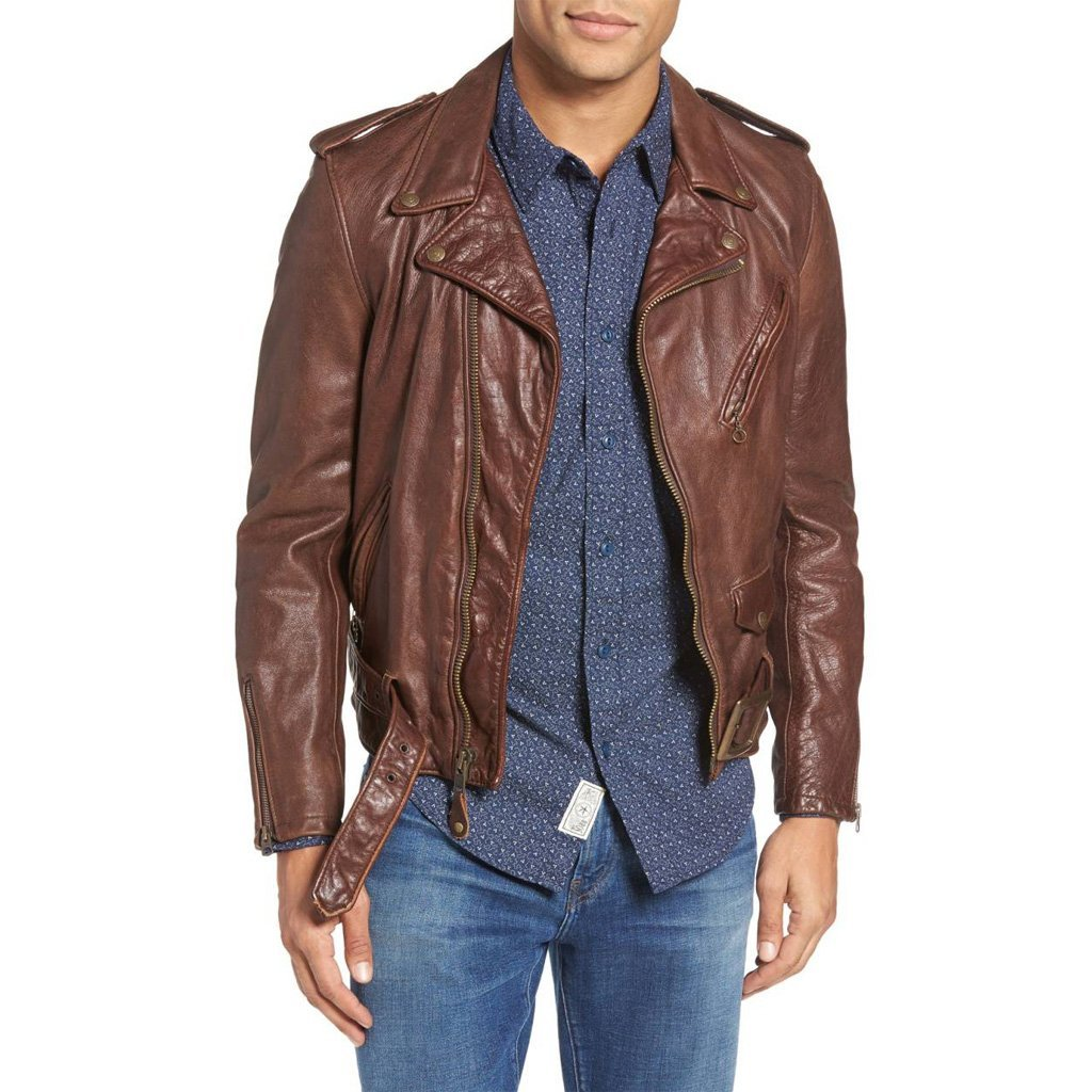 VINTAGE STYLE MEN MOTORCYCLE LEATHER JACKET