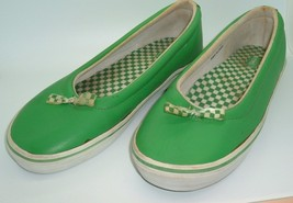 Rare 90s Vintage Vans Womens Leather Skate Shoes Green White checkered b... - $59.97
