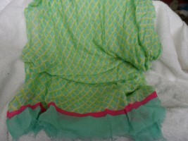 Vera Bradley soft Fringe Scarf in a teal and lime diamond pattern - $29.00