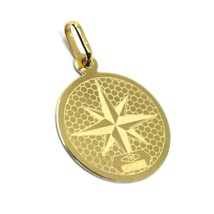 "18K YELLOW WHITE GOLD COMPASS WIND ROSE PENDANT, DIAMETER 1.8 CM, 0.7"", 2 FACES  image 1"