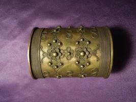 Vintage Hammered Metal Arm Cuff W/ Flower Filigree Detail - $29.70