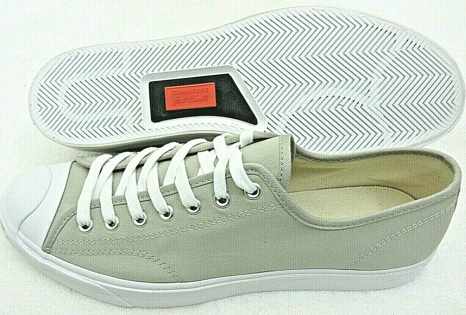 Converse Mens Jack Purcell OX Canvas Birch Bark White Habanero Red Shoes Sz 9.5