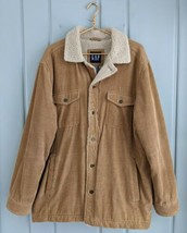 Vintage Gap Mens Large Jacket Coat Sherpa Lined Corduroy Brown Trucker 2002 Work - $96.74
