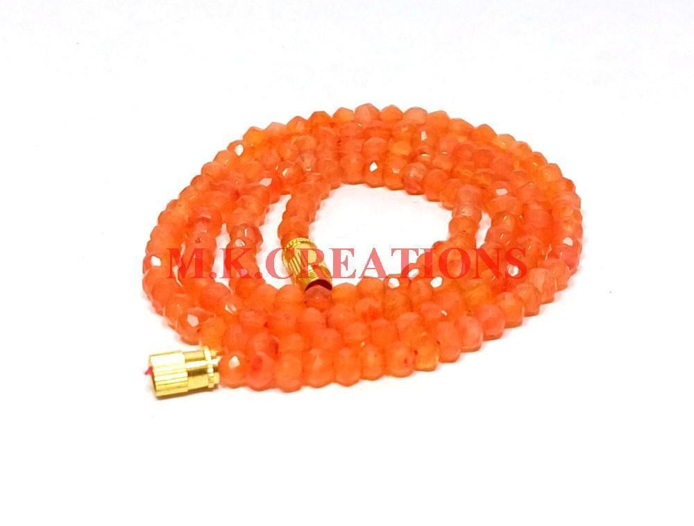 "Primary image for Natural Dark Carnelian 3-4mm Rondelle Faceted Beads 28"" Long Beaded Necklace"