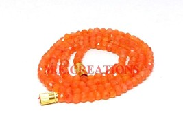"Natural Dark Carnelian 3-4mm Rondelle Faceted Beads 28"" Long Beaded Neck... - $23.83"