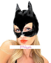 LA-V1013 Sexy Black Vinyl Cat Mask Super Hero Woman Halloween Costume Party - $10.95