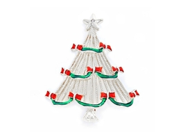 Silvertone Crystal Enamel Christmas Tree Brooch - $12.95