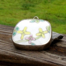 Hand painted porcelain pottery shard pendant qing dynasty china sterling silver thumb200