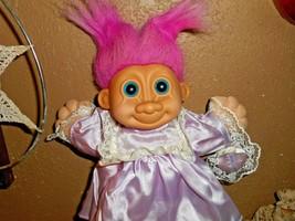 "Russ Berrie 12"" Troll Girl 2325 Purple Satin Dress Plush Soft Body Doll ... - $22.43"