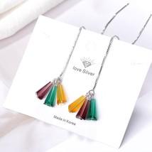 New Line Long Tassel Chain Earrings Crystal Earrings For Women party kor... - $8.13