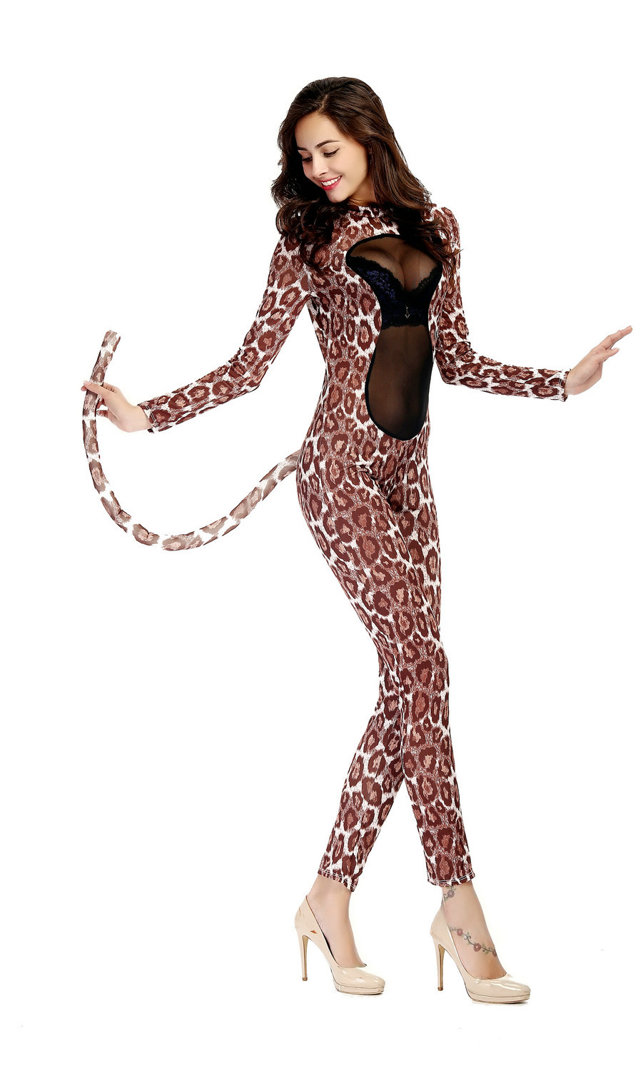Women  Perspective Leopard Leather Novelty Long Sleeve Jumpsuit