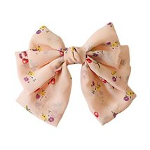 Floral French Barrette Style Hair Pin Handmade Hair Barrette Chiffon Bowknot 9.4 image 2