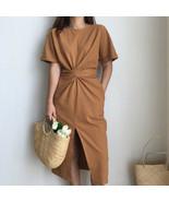2018 women's summer cotton bodycon vintage long dress female short sleeve - $33.30