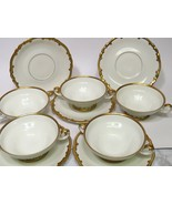 Set 5 H & G Selb Bavaria Heinrich Heavy Gold White Cream Soup Bowls Unde... - $108.90