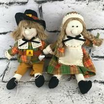 Pilgrims Boy Girl Plush Doll Ornaments Holiday Decor Harvest Colors Folk... - $9.89