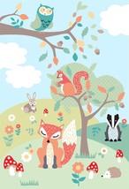 enfants forêt animaux gris brun orange 2.32m x 1.58m M Art Mural Mural - $48.31