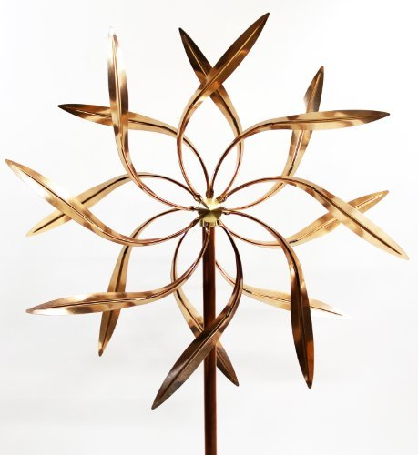 Stanwood Wind Sculpture: Large Kinetic Copper Dual Spinner - Dancing Willow Leav